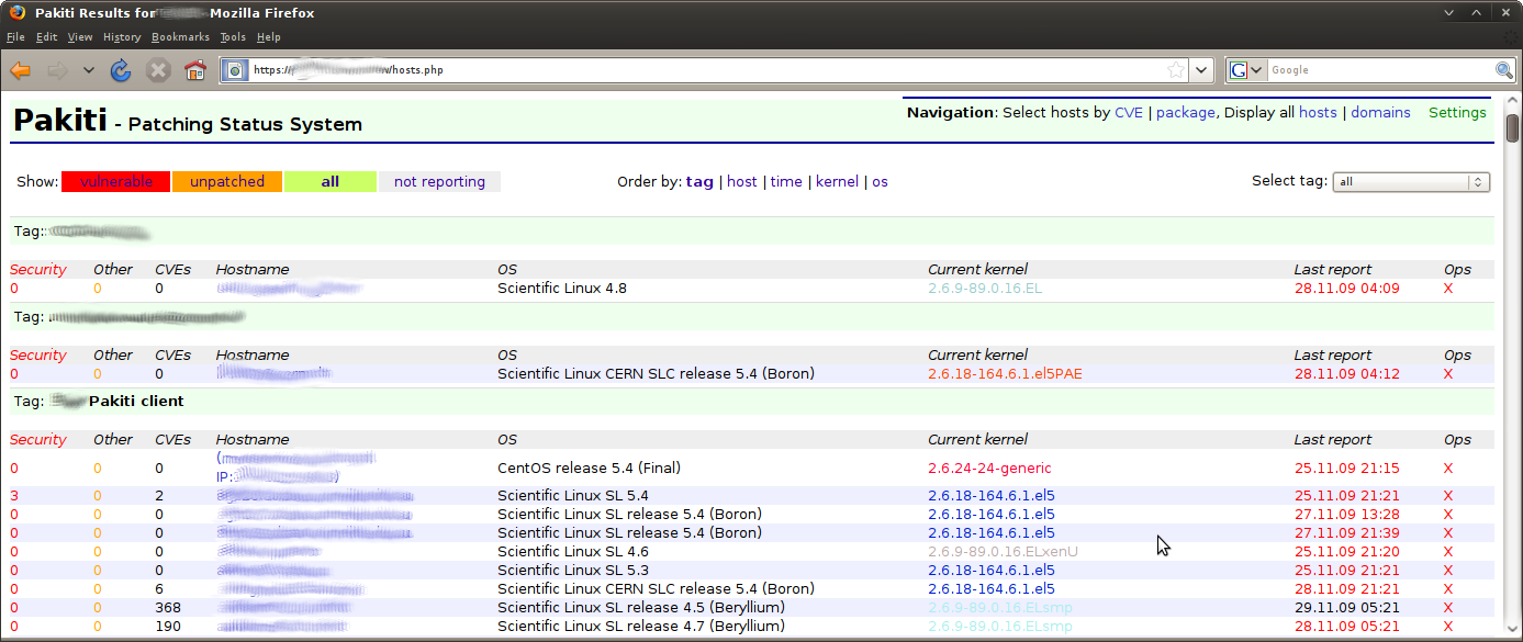 Pakiti server view 2